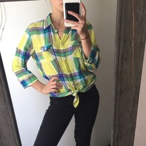 American Eagle half sleeve plaid button up top